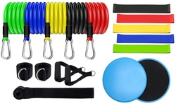 (Set of 19) Workout Resistance Bands Set Exercise Bands Set with Core Sliders