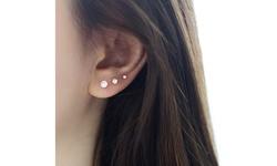 925 Sterling Silver Diamond Stud Earring (Set of 3)