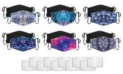 Reusable Non-Medical Printed Face Mask with 10 Filters (2-Pack)