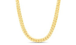 Arturo Zeta Mens Cuban Chain Necklace in 18K Yellow Gold Over Brass