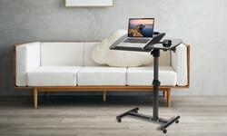 iMounTEK Adjustable Height & Angle Rolling Laptop Desk Table w/ Mousepad