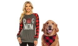 Haute Edition Women's Dog Mom Plaid Sweatshirt with Dog Bandana 2-Piece Gift Set