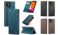 CASE ME Magnetic Leather Flip Wallet Case For Apple iPhone 12/12 Pro