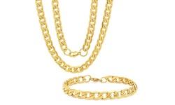 Men's Stainless Steel Diamond Cut Cuban Link Chain Necklace And Bracelet Set