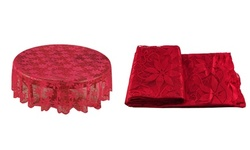 Red Lace Round Table Cloths Cover for Christmas Party