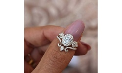 Women's Unique Oval Moissanite Diamond Halo Vine Floral Paired Ring