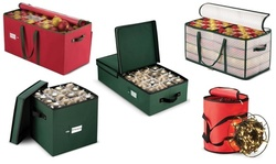 Christmas Ornament Storage Box with Dividers & Holiday Light Storage Box & Reels