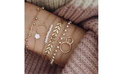 6PCS/Set Women Boho Geometric Leaves Beads Layered Hand Charm Bracelets Set
