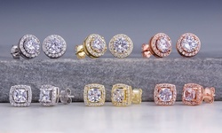 3.44 CTTW Halo Stud Earrings Made with Swarovski Elements