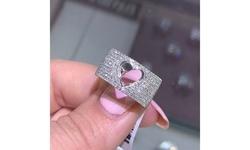 Women 925 Sterling Silver Natural Gemstone Diamond Heart Ring Size 6-10