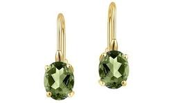 2 CTTW Genuine Peridot Leverback Earrings in 18K Yellow Gold
