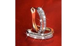 Women's Fashion 925 Silver Three Drill Full Diamond Rhinestone Clip-on Earrings