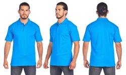 Mens 3 Button Cotton Jersey Polo with Ribbed Collar and Side Vents for Comfort.