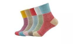 5Pairs Womens Wool Cashmere Socks Cozy Thick Knit Winter Crew Socks