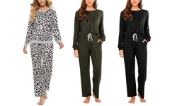 Women's Plus Size Pajama Set Soft Long Sleeve Top with Pants Lounge Set (XL-4XL)