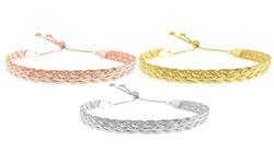 Italian Sterling Silver Adjustable Braided Herringbone Bracelet