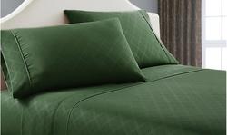 Super-Soft Plaid Embossed Bed Sheet Set (4-Piece)