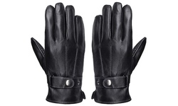 Mens Leather Gloves Full-Hand Touch Screen Texting Driving Winter Gloves