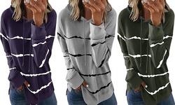 Women's Casual Tie Dye Striped Loose Long Sleeves Drawstring Tunic Tops