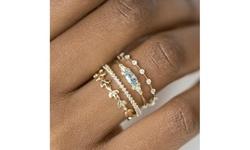 4 Pieces/Set Womens 18K Gold Natural Aquamarine Diamond Ring Set