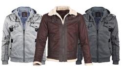LeeHanTon Men's Fleece Faux Suede and Leather Jacket (S-2XL)