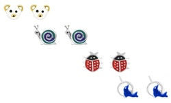 Children's Sterling Silver and Enamel Novelty Earrings