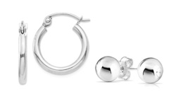 Polished Plain Hoop and Ball Stud Earrings Set in Solid Sterling Silver
