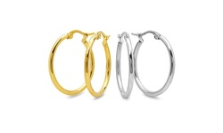 Set Of 2 Stainless Steel And 18kt Gold Plated Hoop Sets