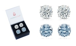 4 CTTW White Topaz and Blue Topaz Round Stud Earrings Set (2 Pack)