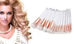 Glamorous Rose Gold Makeup Brush Set with Transparent Handles - 12 Piece