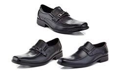 Marco Vitale Men's Assorted Slip on Black Square Toe Dress Loafers