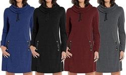 Leo Rosi Women's Funnelneck Dress. Plus Sizes Available.