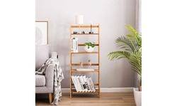4-Shelf Bamboo Ladder Shelf Bookshelf Storage Shelves Stand Home