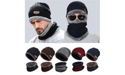 Windproof Scarf Wool Winter Beanie Hat Hooded Scarf Earflap Knit Cap