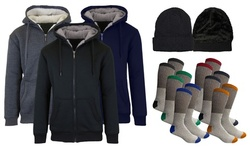 Men's Sherpa Hoodie, Hat, and Thermal Socks Set (S-2XL)
