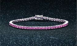Pink Tourmaline Round Cut Tennis Bracelet in 18k White Gold