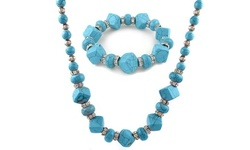 Genuine Turquoise and Swarovski Crystal Necklace and Bracelet Set