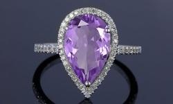 4.00 CTTW Genuine Amethyst Gemstone Pear Cut Halo Ring
