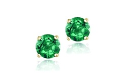 Emerald Round 6mm Solitaire Stud Earrings in Gold Flash Sterling Silver