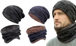 Winter Beanie Hats Scarf Set Warm Knit Hats Skull Cap Neck for Men Women