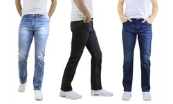 Men's Washed Straight-Leg Stretch Jeans (Sizes, 30-40) - Multiple Inseams