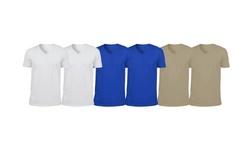 SEL Men's 100% Cotton V-Neck T-Shirt (6-Pack)