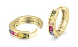 Crystal Rainbow Huggie Hoops Made with Swarovski Elements