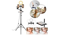 """6.3"""" Selfie Ring Light with Tripod Stand & Double Cell Phone Holder"""