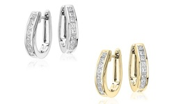 Buy 1 Get 1 Free: 4.00 CTTW Oval Hoop Earrings Made with Swarovski Crystals