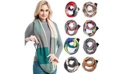 Women Warm Wrap Infinity Scarf With Zipper Pocket Winter Travel Scarf