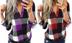 Women's Plaid V Neck Rolled Long Sleeve Tunic Tops Casual Shirts