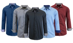 Men's Long Sleeve Solid Slim-Fit Casual Dress Shirts (2-Pack)