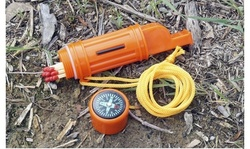5-IN-1 Orange Survival Whistle with Lanyard