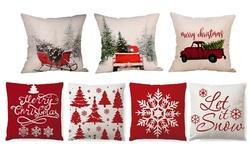 Christmas Pillow Case Cotton Linen Home Sofa Throw Decor